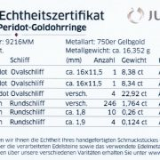 Juwelo Echtheitszertifikat Zabargad-Peridot-Goldohrringe Kat Florence