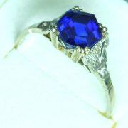 Antiker ca. 1920 Blauer Saphir Ring Top Kaschmir Farbe 2