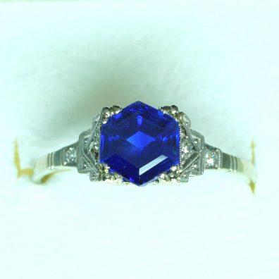 Antiker ca. 1920 Blauer Saphir Ring Top Kaschmir Farbe - Enzmann Edelstein Onlineshop.