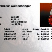 Zertifikat Edelsteinschmuck Sphalerit Goldanhänger