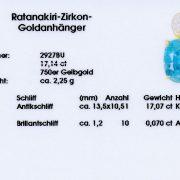 Ratanakiri Zirkon Goldanhänger 17,14 ct