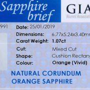 Zertifikat Oranger Saphir 1,07 ct